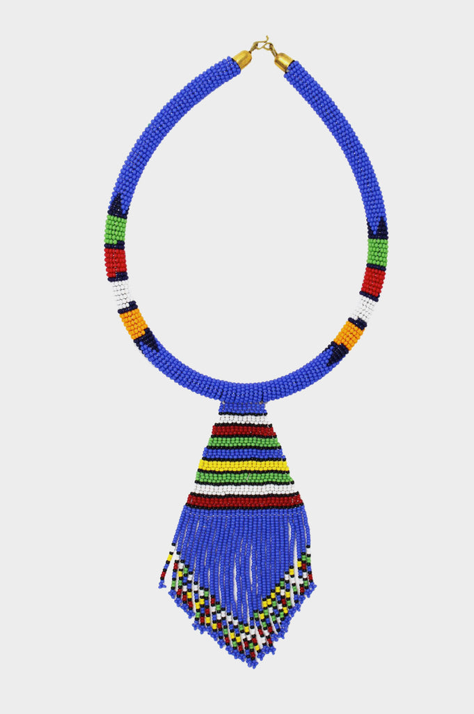 Nala Beaded Maasai Necklace | Blue