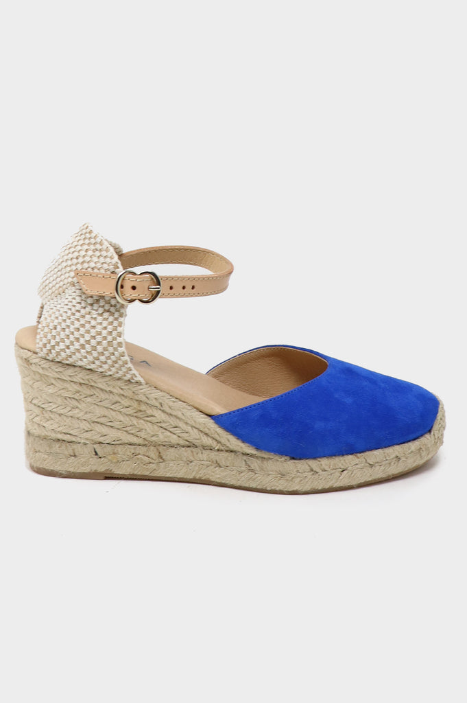 Nantes Leather Wedge Espadrilles | Cobalt Blue - Aspiga