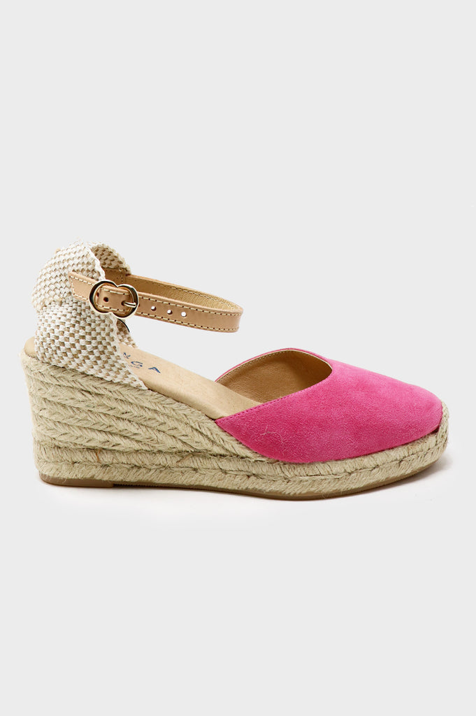 Nantes Leather Wedge Espadrilles | Pink - Aspiga