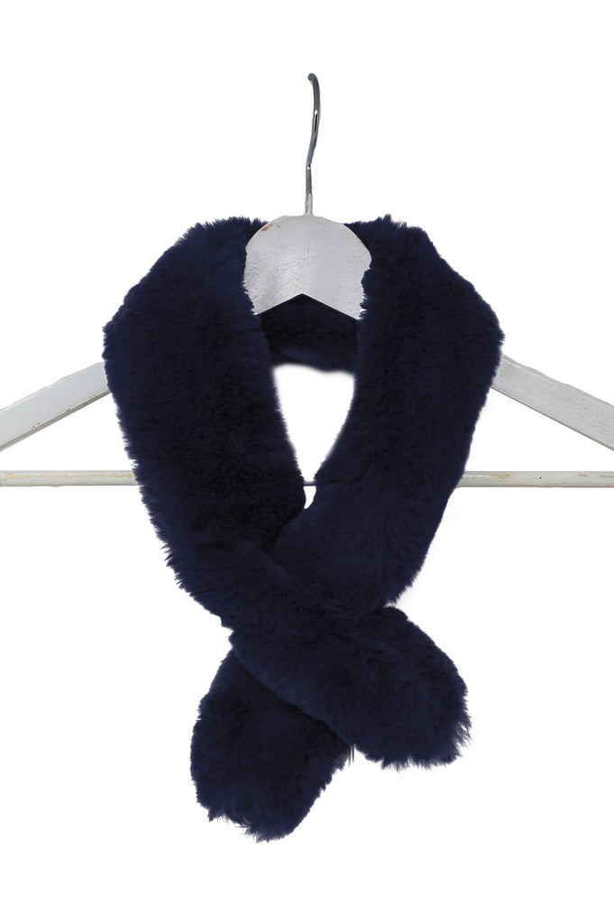 Faux Fur Neck Warmer | Navy