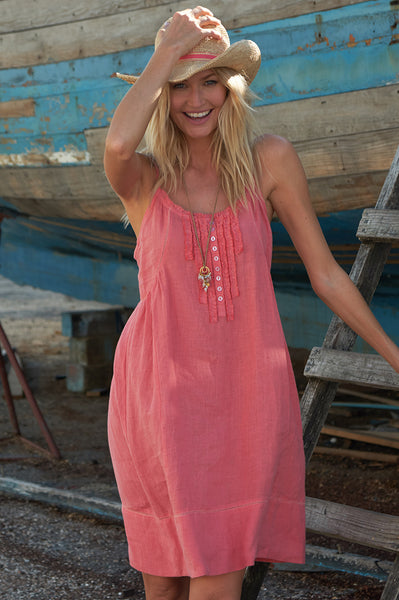 Cayo Linen Sundress | Light Coral