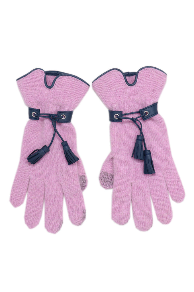 Leather Tassel Gloves by Santacana | Pink - Aspiga