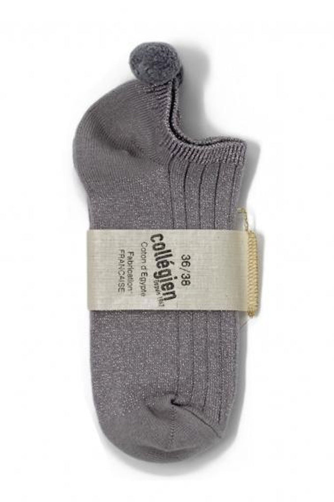 Pom Pom Trainer Socks | Pale Grey