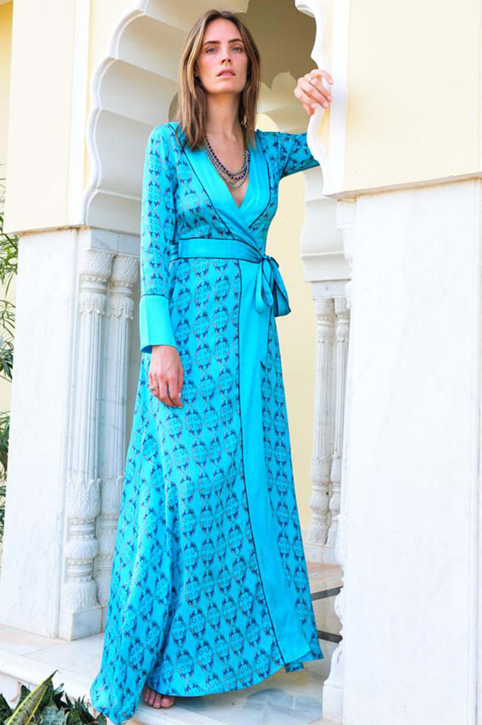 Rani Silk Wrap Dress by Deeba | Turquoise - Aspiga