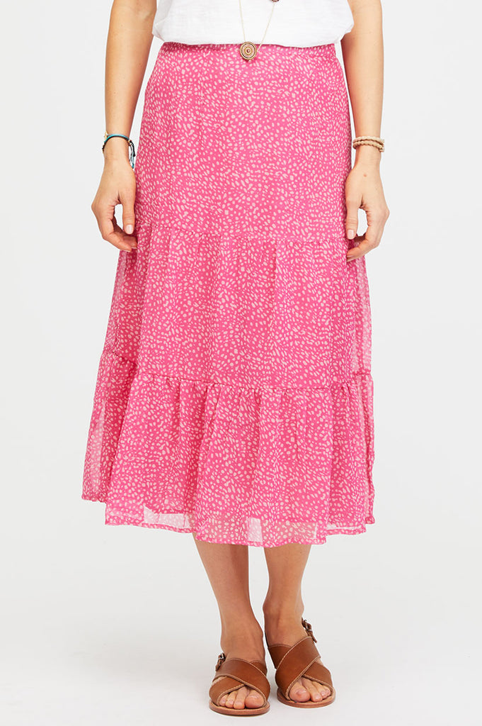 Chiffon Tiered Midi Skirt | Raspberry/Ecru