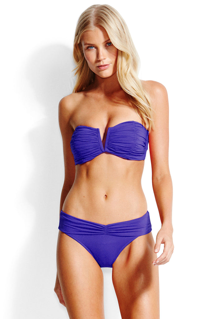 Ruched Bandeau Bikini Top With Fold-Over Pant by Seafolly | Blue - Aspiga