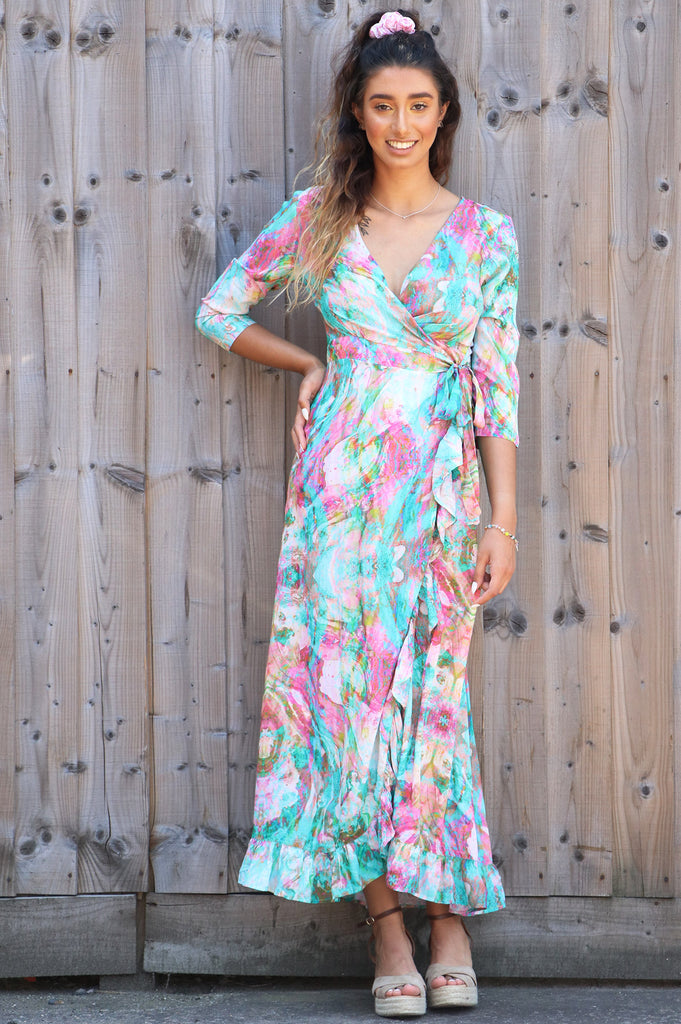 Ruffle Wrap Dress | Liquid Rainbow - Aspiga