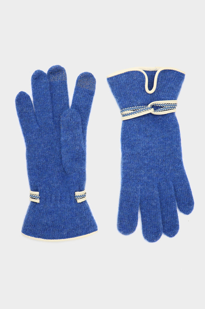 Touchscreen Woolen & Leather Gloves | Cobalt Blue