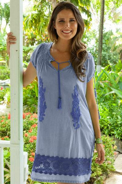 Sacha Embroidered Dress by Rose & Rose | Blue