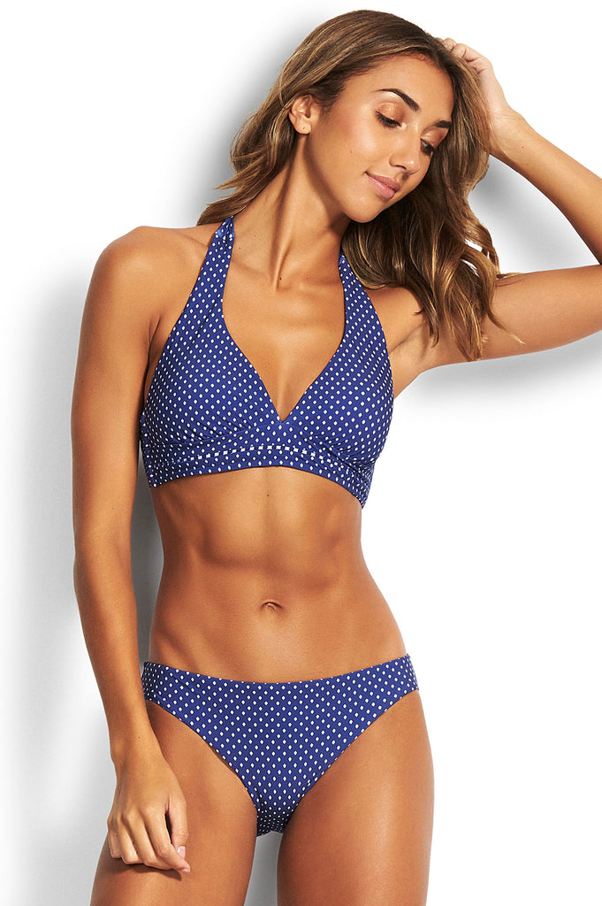 Tie Halter Bikini Top with Hipster Bikini Pants by Seafolly | Blue Opal - Aspiga