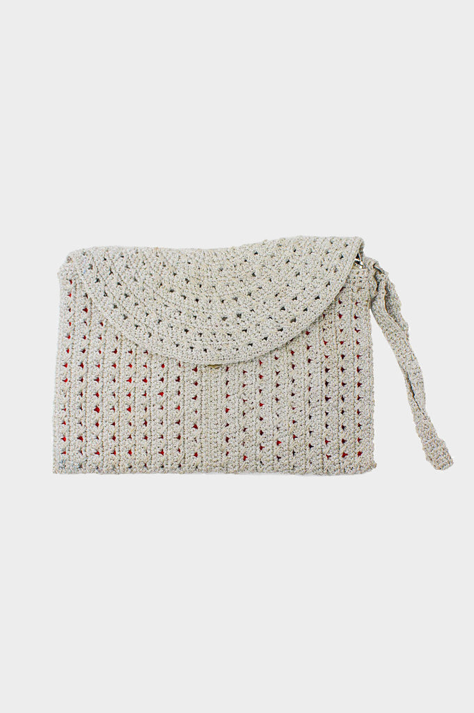 Ruched Soft Cotton Woven Bag | Silver