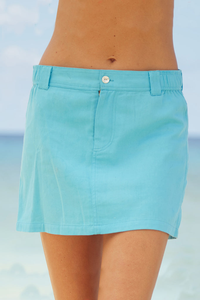 Sol Cotton Mini Skirt | Turquoise