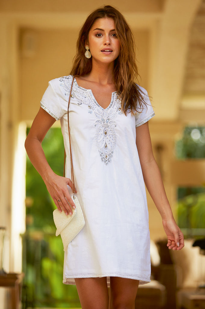 Alexia Embroidered Dress | White