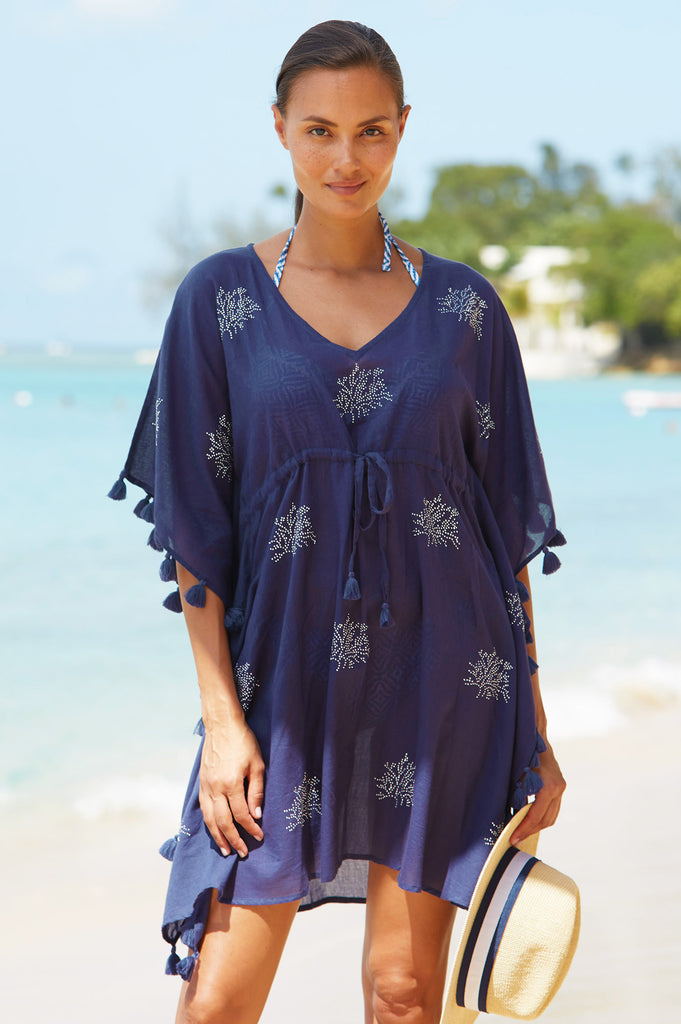 St Kitts Organic Cotton Kaftan | Navy - Aspiga