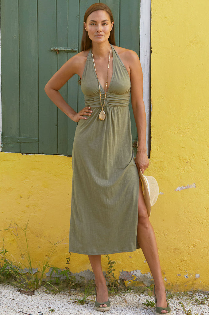 St Tropez Cotton Midi Dress | Khaki - Aspiga
