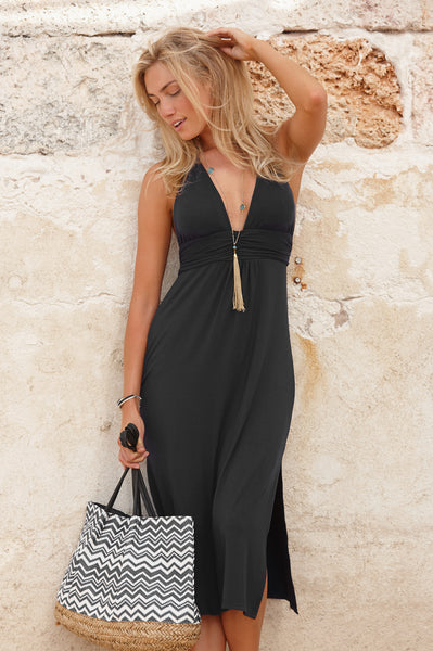 St Tropez 3/4 Halter Dress | Black