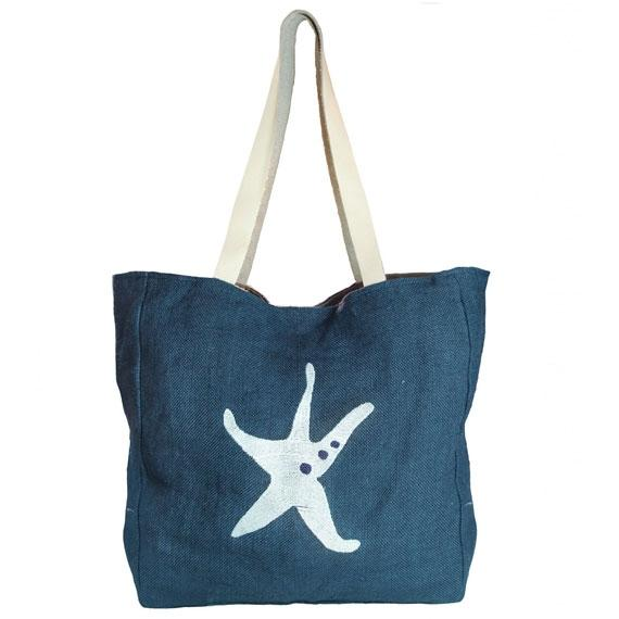 Starfish Jute Beach Bag Navy/White