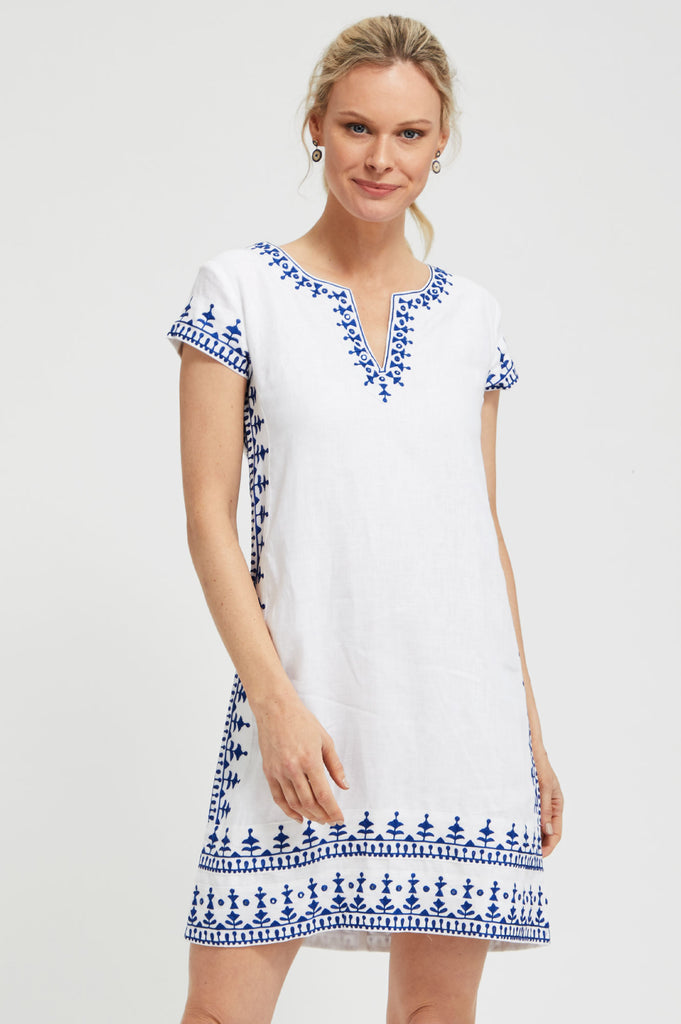 Como Embroidered Linen Dress by Sulu | White/Blue - Aspiga