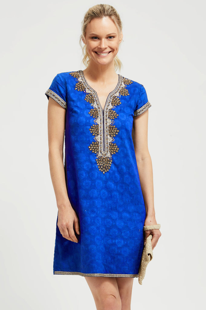 Stella Embroidered Dress by Sulu | Cobalt Blue - Aspiga