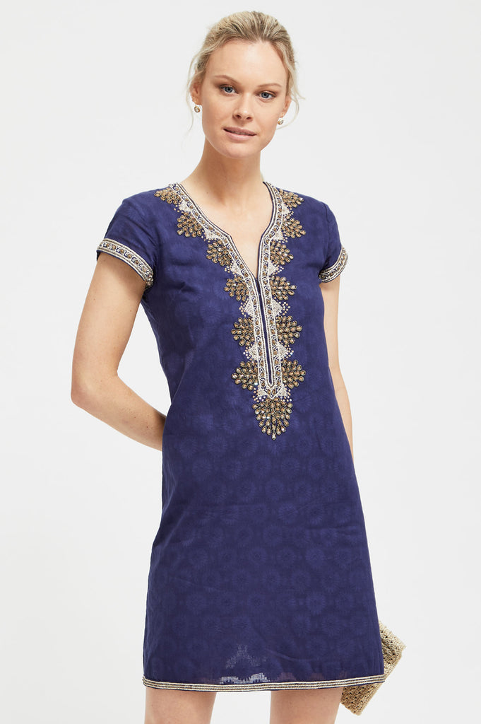 Stella Embroidered Dress by Sulu | Navy - Aspiga