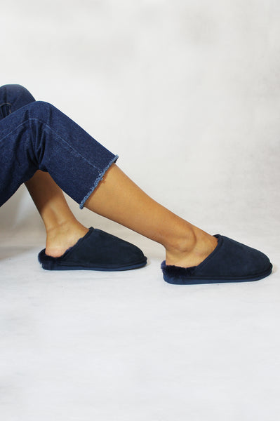 Lou Unisex Sheepskin Scuffs | Navy
