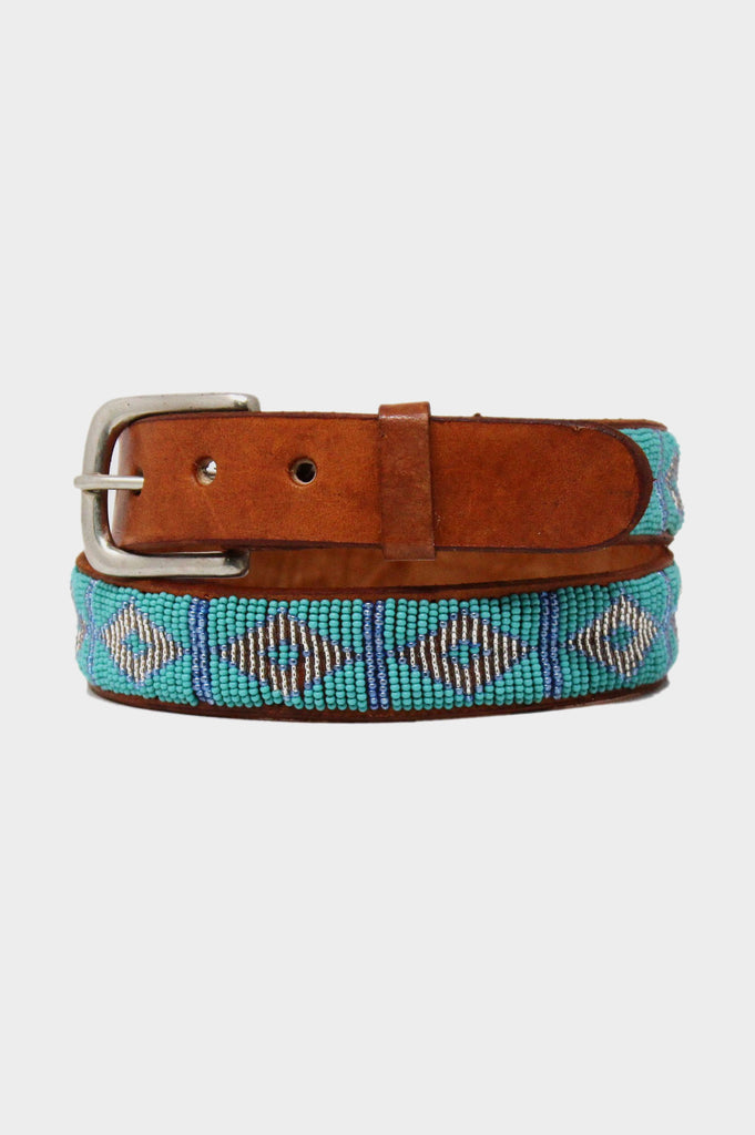 Triangle Leather Belt | Sea Green