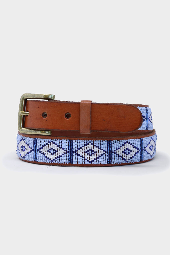 Triangle Leather Belt | Sky Blue