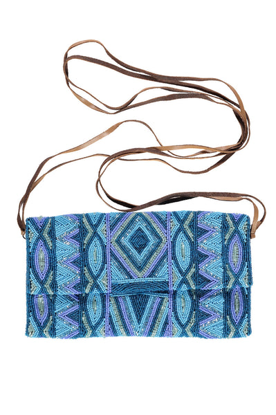Pattern Crossbody Soft Beaded Bag | Turquoise