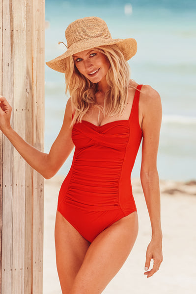 Twist Textured Swimsuit by Moontide | Red