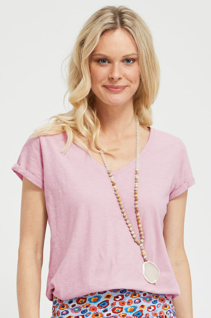 V-Neck Cotton T-shirt | Dusty Pink - Aspiga