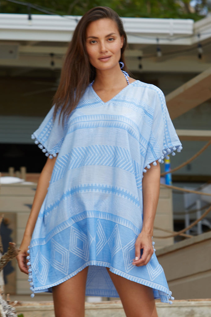 Vanessa Organic Cotton Kaftan | Light Blue - Aspiga
