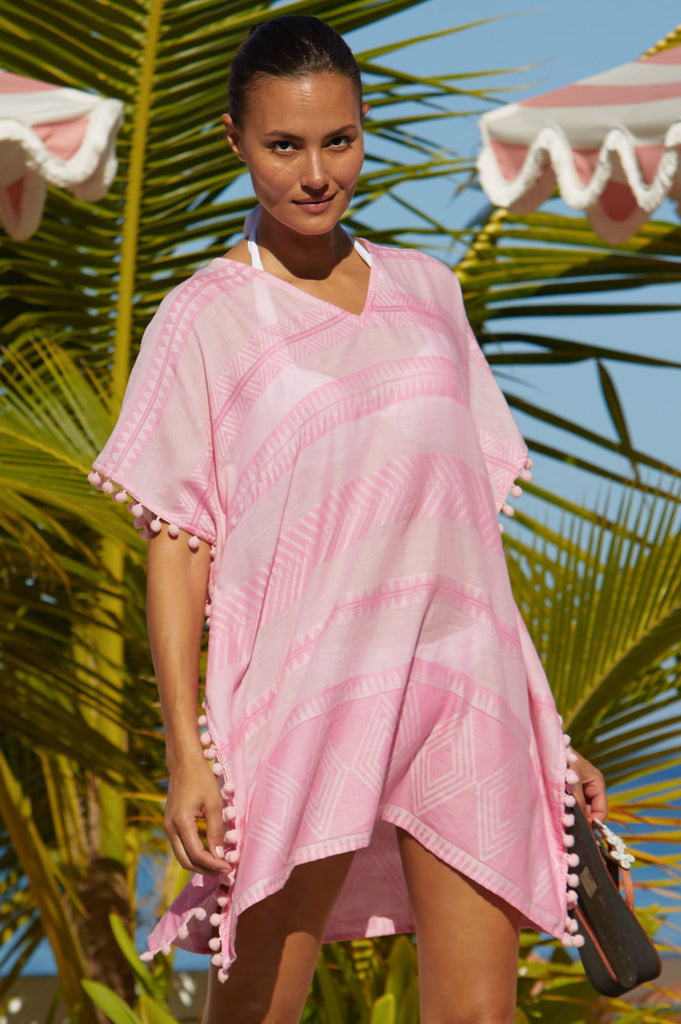 Vanessa Organic Cotton Kaftan | Light Pink - Aspiga