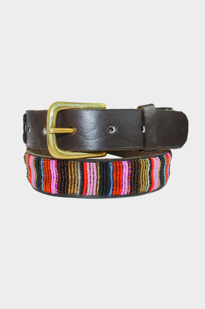 Vertical Full Beaded Leather Belt | Autumn
