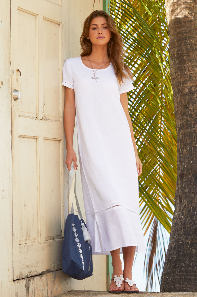 Alisha Linen Maxi Dress | White