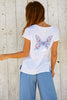 Butterfly Embroidered T-Shirt | White/Multi