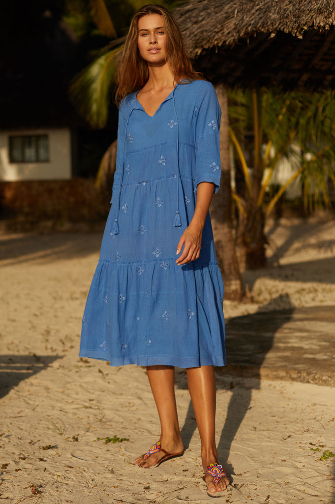 Willow Boho Organic Cotton Midi Dress | Cobalt Blue - Aspiga