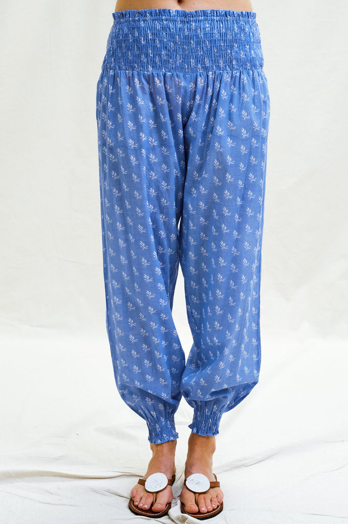 Harem Organic Cotton Trousers | Willow Leaf Marina Blue/White