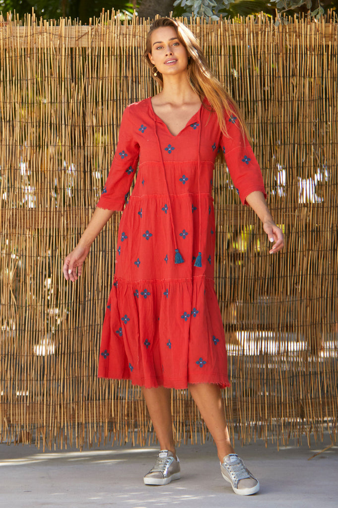 Willow Embroidered Organic Cotton Dress | Red/ Teal