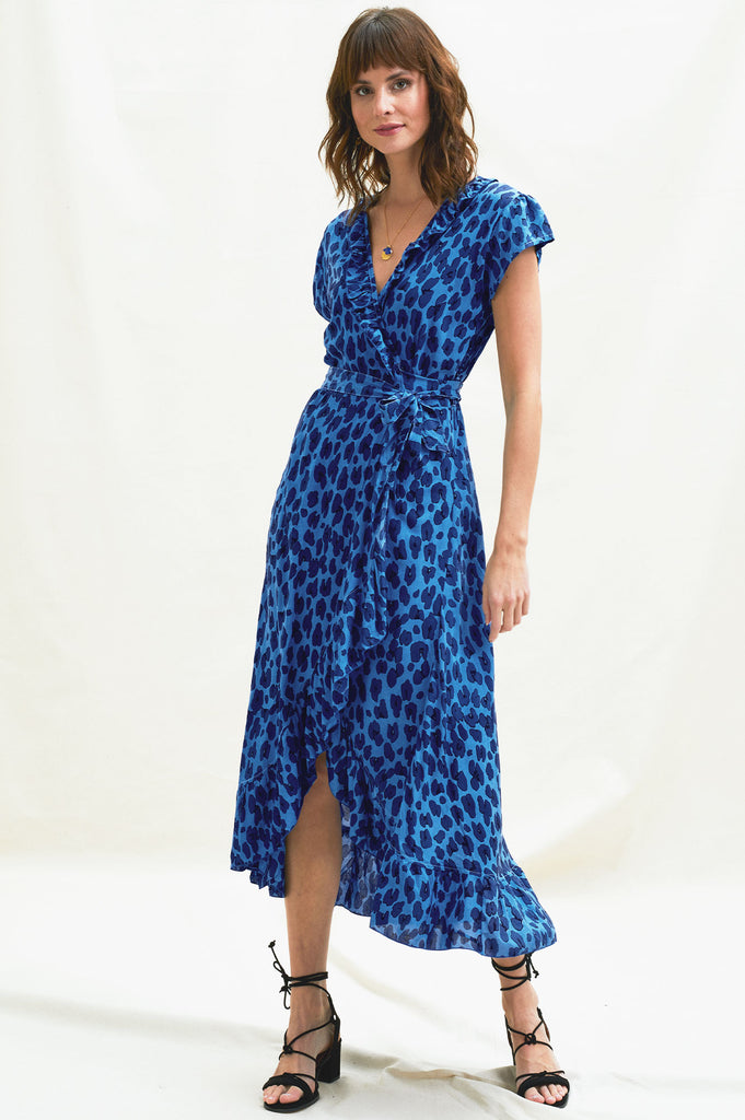 Wrap Frill Midi Dress | Leopard Sea Blues