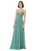 Affordable Long Chiffon A-Line Sweetheart Spaghetti Straps Sleeveless Bridesmaid Dress Krista