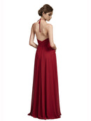 Affordable Long Chiffon A-Line Halter V-Neck Spaghetti Straps Sleeveless Bridesmaid Dress Zahra