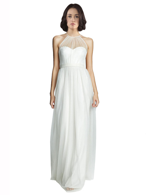 Affordable A-Line Halter, High Neck, Illusion Floor Length Long White Tulle Bridesmaid Dress Mara