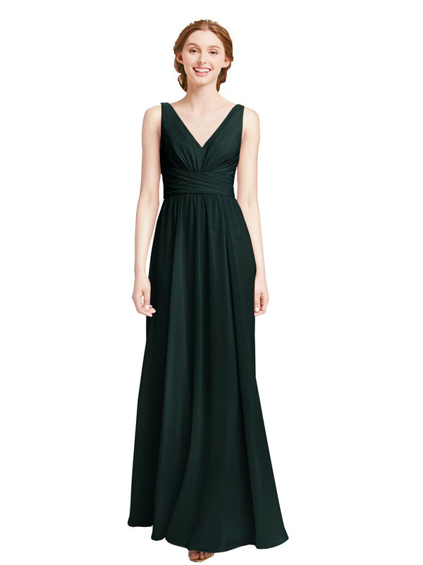 Affordable Elsa Bridesmaid Dress Dark Green A-Line V-Neck Floor Length Long Chiffon Sleeveless Bridesmaid Dress