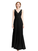 Affordable Elsa Bridesmaid Dress Black A-Line V-Neck Floor Length Long Chiffon Sleeveless Bridesmaid Dress