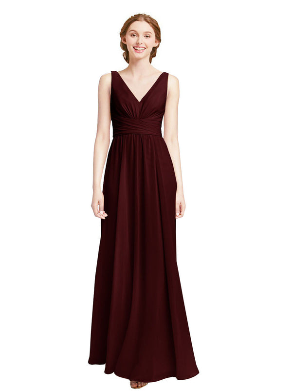 Affordable Elsa Bridesmaid Dress 52# A-Line V-Neck Floor Length Long Chiffon Sleeveless Bridesmaid Dress