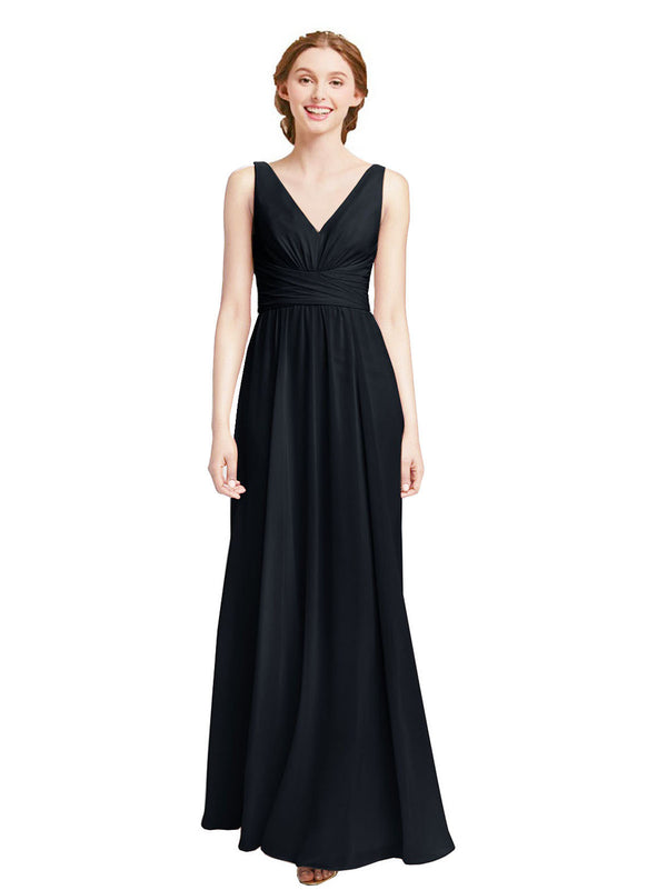 Affordable Elsa Bridesmaid Dress Dark Navy A-Line V-Neck Floor Length Long Chiffon Sleeveless Bridesmaid Dress