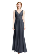 Affordable Elsa Bridesmaid Dress Slate Grey A-Line V-Neck Floor Length Long Chiffon Sleeveless Bridesmaid Dress