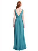 Affordable Long Chiffon A-Line V-Neck Sleeveless Bridesmaid Dress Elsa