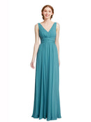 Affordable Elsa Bridesmaid Dress 131# A-Line V-Neck Floor Length Long Chiffon Sleeveless Bridesmaid Dress