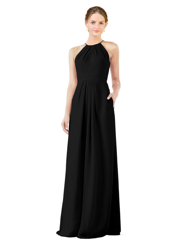 Bridesmaid Dress Emma Long Sheath High Neck Halter Chiffon Black Bridesmaid Dress Floor Length Keyhole Sleeveless 174018